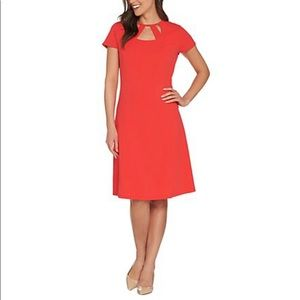 Dennis Basso Luxe Crepe Cut-Out Neck Dress
